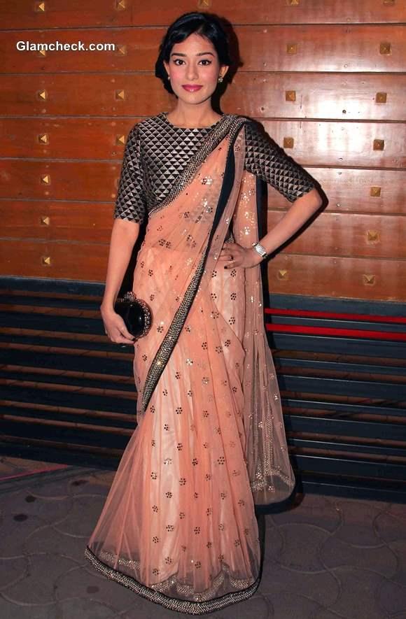 Amrita Rao in Sari at the Idea Filmfare Awards 2014