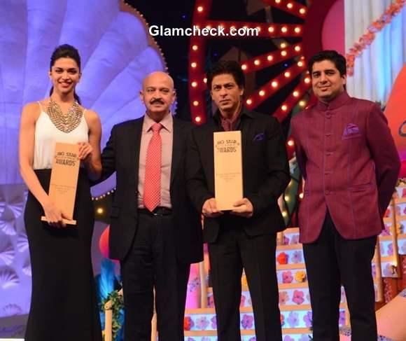 Big Star Entertainment Awards 2013 Deepika Padukone and Shahrukh Khan with Rakesh Roshan