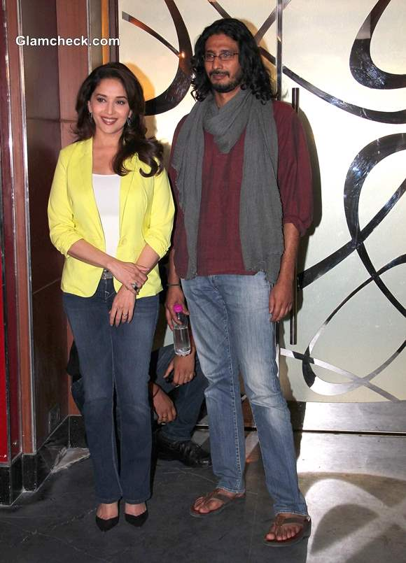 Bollywood filmmaker Abhishek Chaubey with actor Madhuri Dixit Nene