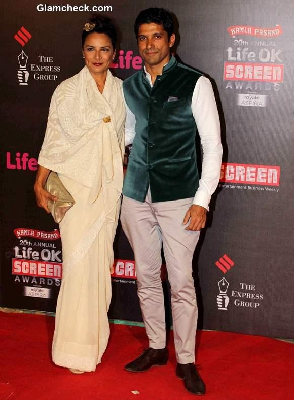 Farhan Akhtar with his wife Adhuna Akhtar at Annual Life OK Screen Awards 2014