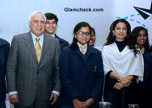 Juhi Chawla Flies to Delhi to Support Exchange for Change Programe