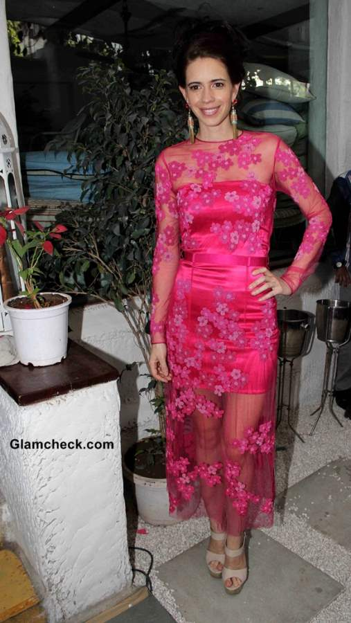 Kalki Koechlin in pink lace dress at Max Fashion icon 2014 announcement