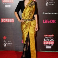 Kalki Koechlin in sari at Annual Life OK Screen Awards 2014