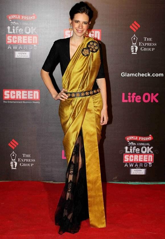 Kalki Koechlin in sari at Annual Life OK Screen Awards 2014