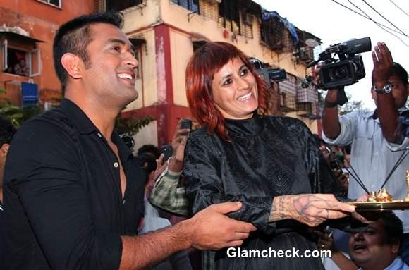 MS Dhoni at the Launch of Sapna Bhavnani Mad-O-Wat Salon in Mumbai