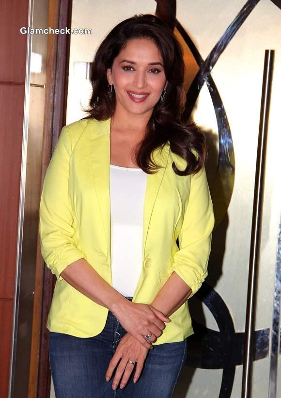 Madhuri Dixit Nene in Yellow Blazer at Dedh Ishqiya Promo
