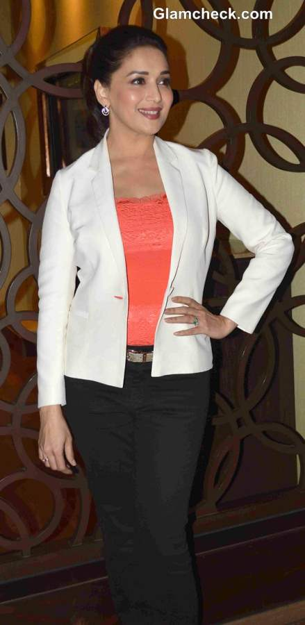 Madhuri Dixit Nene in a Lace Top and Formal Blazer