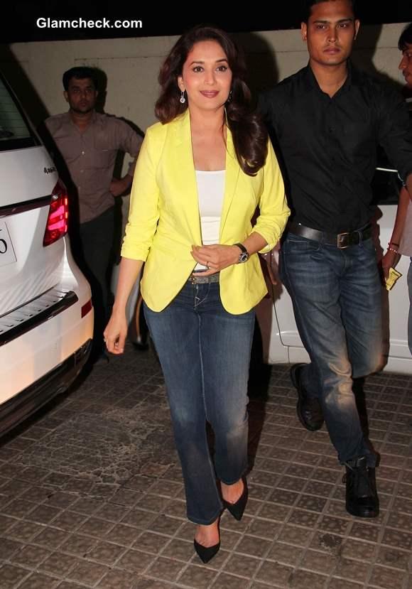 Madhuri Dixit in Yellow Blazer Blue Jeans at Dedh Ishqiya Promo