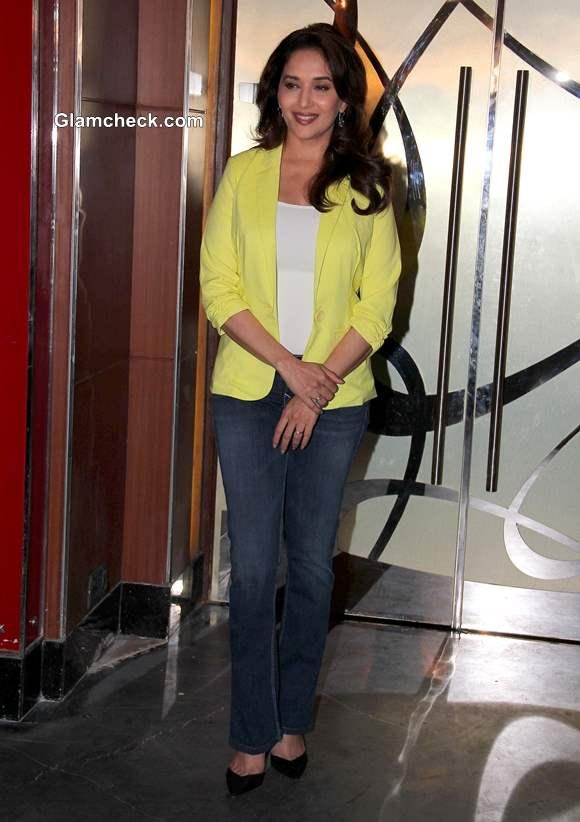 Madhuri Dixit in Yellow Blazer at Dedh Ishqiya Promo