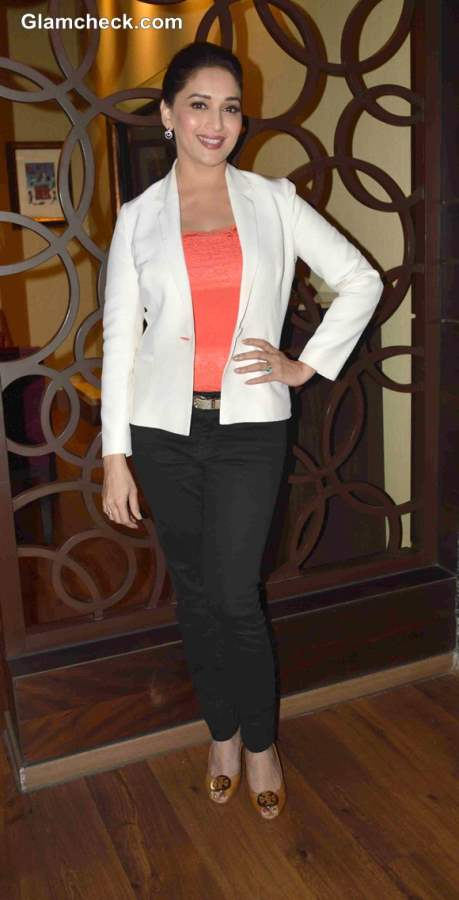 Madhuri Dixit in a Lace Top and Formal Blazer