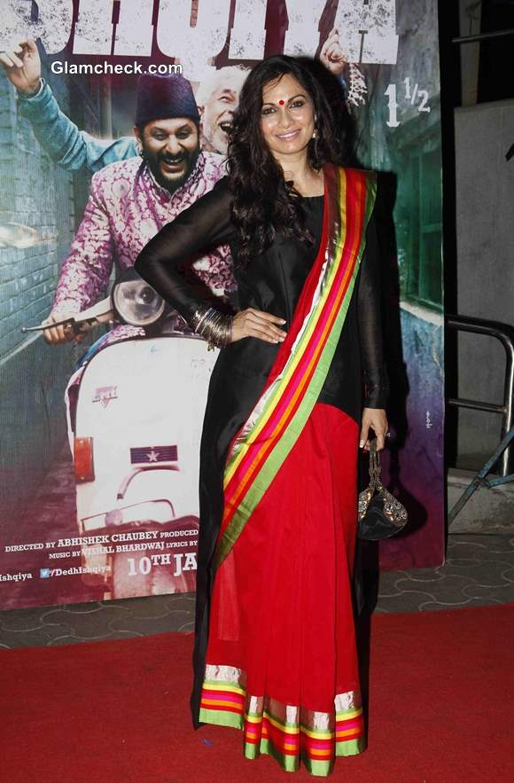Maria Goretti in Red Sari at Dedh Ishqiya  Premiere