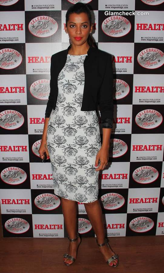 Mugdha Godse wears Masaba Dress for Health and Nutrition Cover Launch