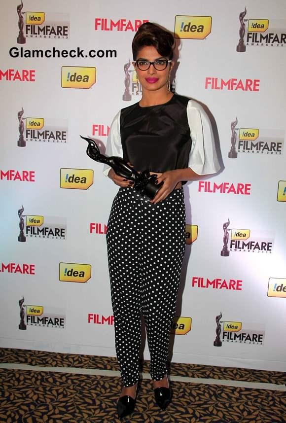 Priyanka Chopra Nerdy Look at  59th Idea Filmfare Awards 2013 Press Meet