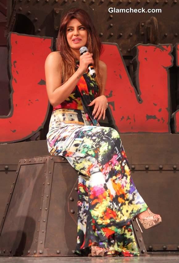 Priyanka Chopra in an abstract Gauri and Nainika Jumpsuit At Gunday Music Launch