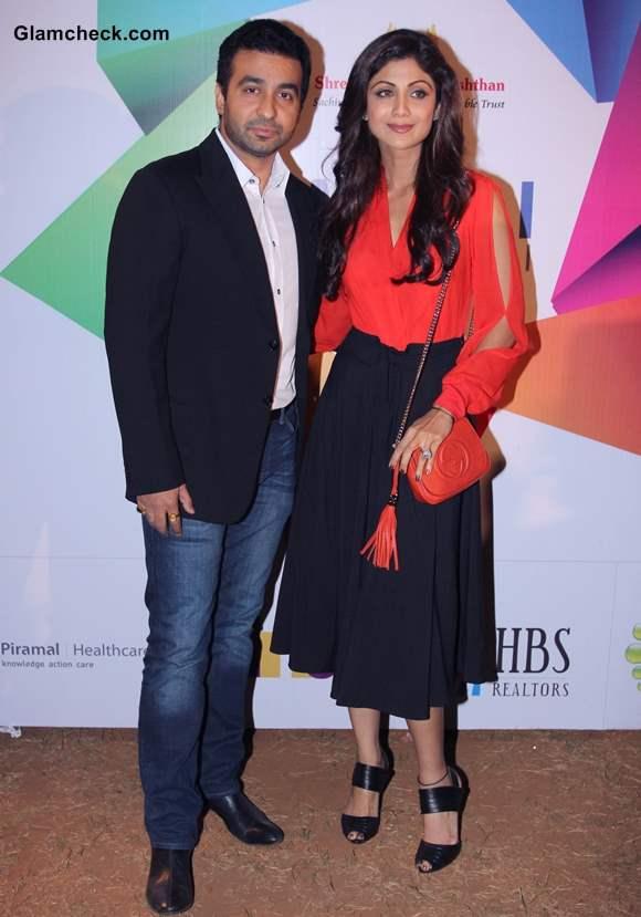 Raj Kundra and Shilpa Shetty at Worli Festival 2014