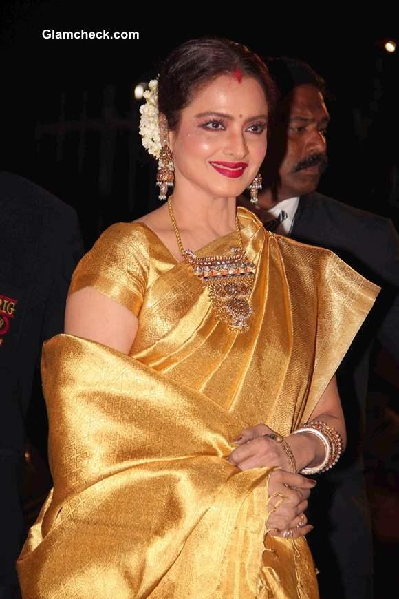 Rekha Glows In Gold Kanjeevaram Sari At 59th Filmfare Awards