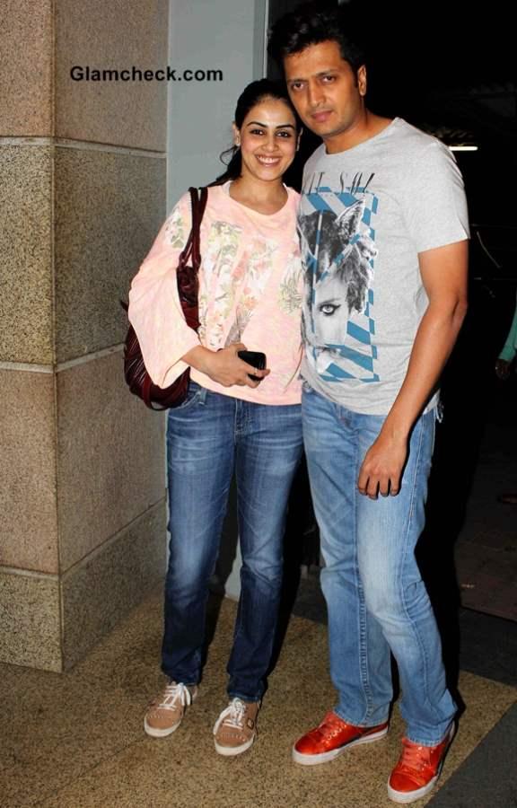 Riteish Deshmukh with his wife Genelia DSouza at Jai Ho Special Screening