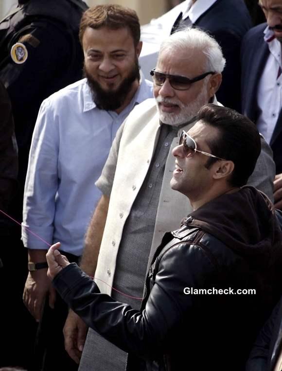 Salman Khan Flies Kites with Narendra Modi on Makar Sankrant 2014