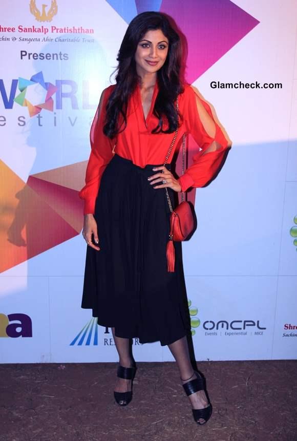 Shilpa Shetty in Black Skirt at Worli Festival 2014