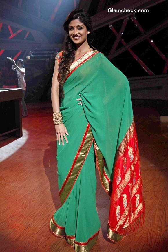 Shilpa Shetty in Green Sari on Nach Baliye 6