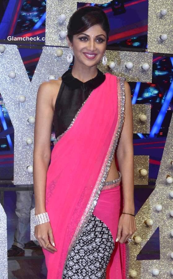 Shilpa Shetty in Manish Malhotra Pink Sari