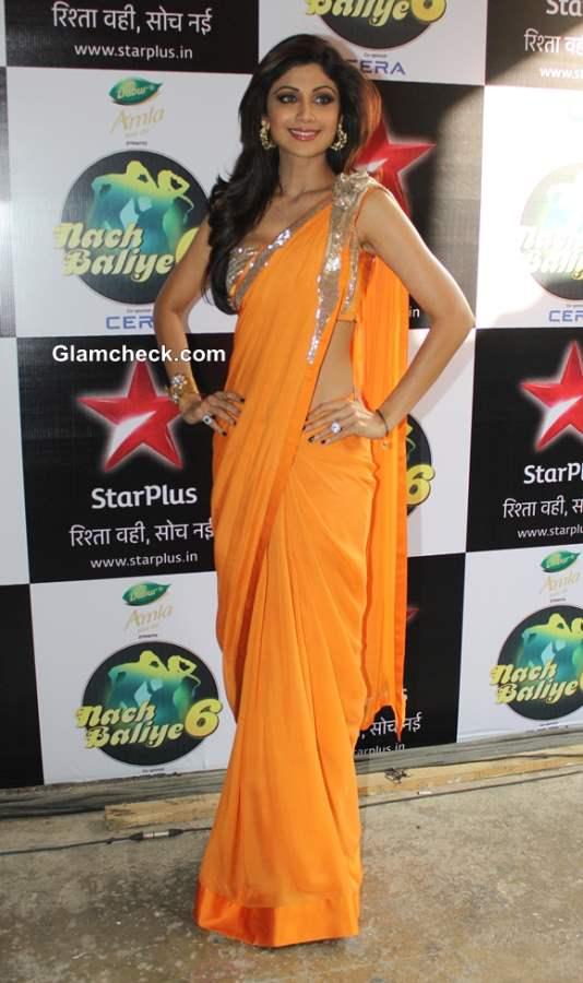 Shilpa Shetty in Orange Saree 2014