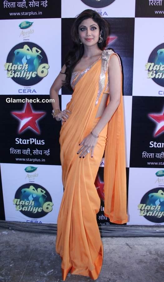 Shilpa Shetty in Orange Sari 2014