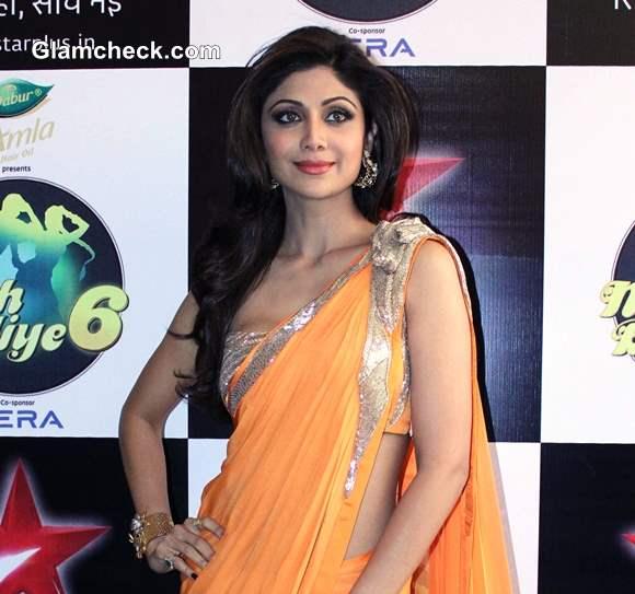 Shilpa Shetty in Orange Sari on the sets of Nach Baliye 6