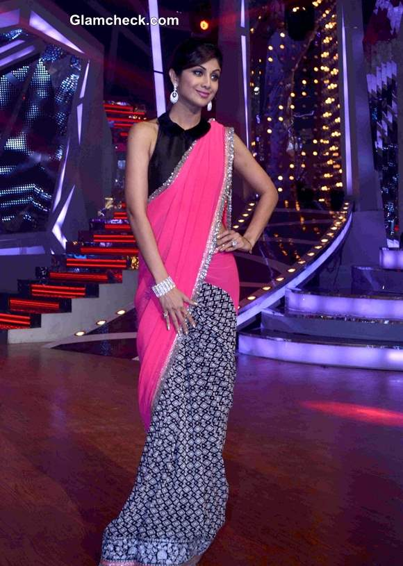 Shilpa Shetty in a Peter Pan Blouse and Pink Sari
