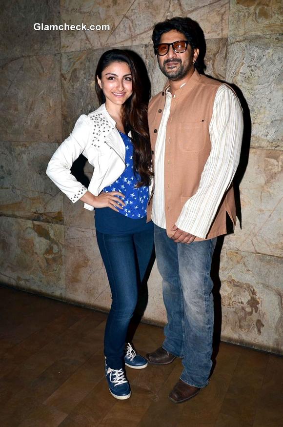 Actors Arshad Warsi and Soha Ali Khan during the special screening of film Mr. Joe B Carvalho in Mumbai, on Jan. 02, 2014. (Photo: IANS)