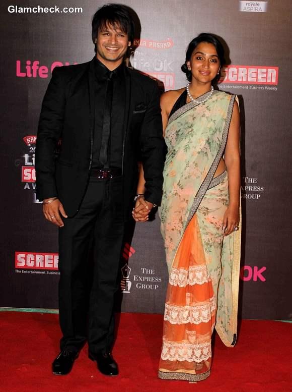 Vivek Oberoi with his wife Priyanka Alva at Annual Life OK Screen Awards 2014