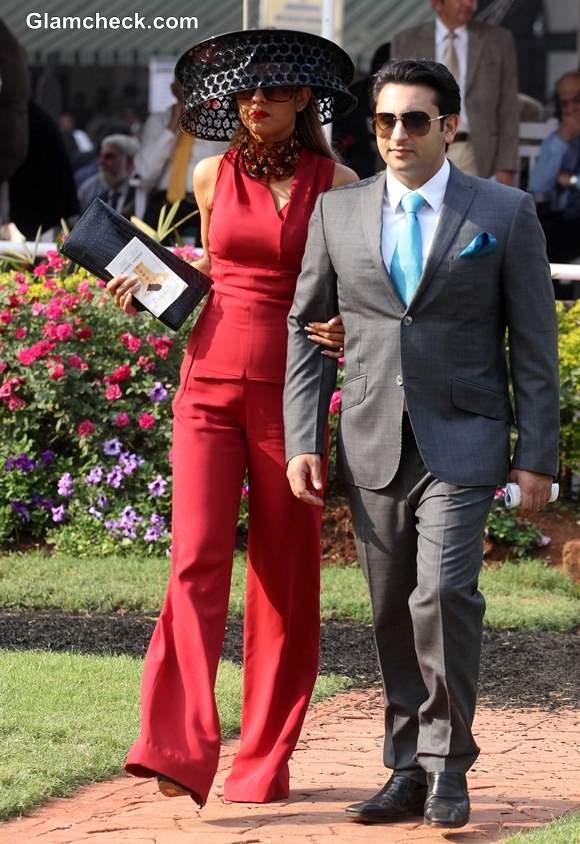 Adar Poonawalla with his wife Natasha Poonawala at McDowell Signature Premier Indian Derby 2014