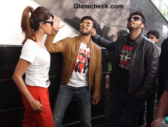 Cast of Gunday Promote movie at Wellingkar College in Mumbai