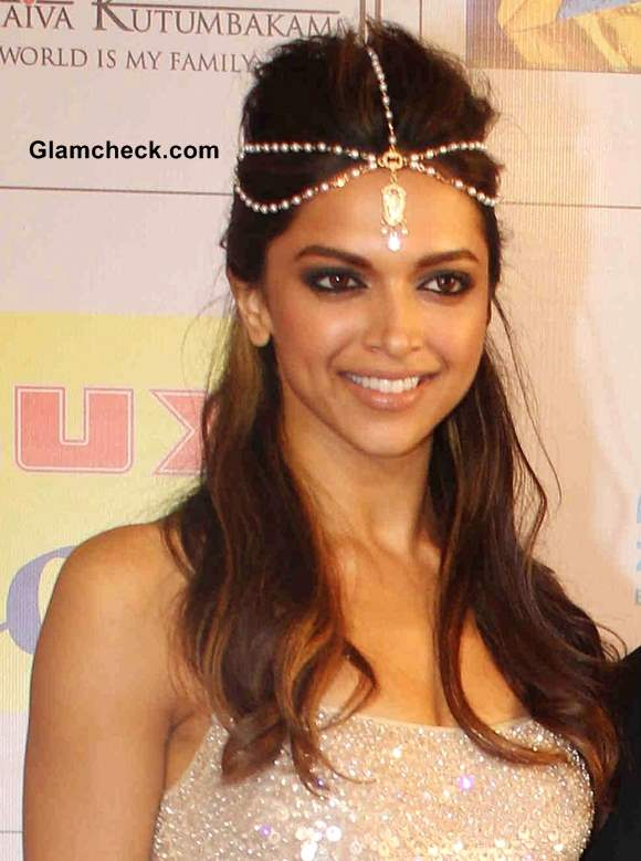 Deepika Padukone Hairstyle with Chain Hair Accessory 2014