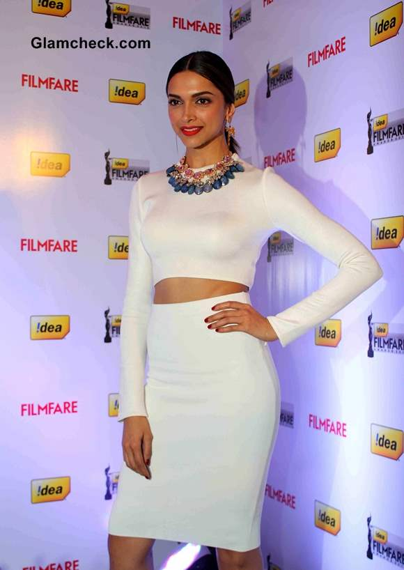 Deepika Padukone in White Zara Cropped Top