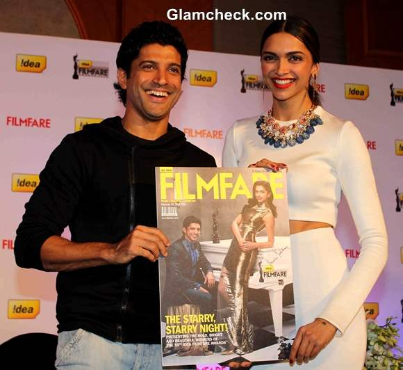 Deepika Padukone with Farhan Akhtar at Filmfare Launch