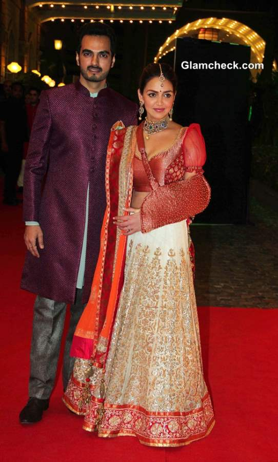 Esha Deol and her husband Bharat Takhtanil during the sangeet ceremony of Ahana Deol and Vaibhav Vohra