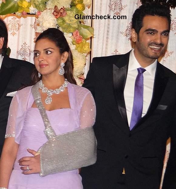Esha Deol with Bharat at Wedding Reception of Ahana Deol-Vaibhav Arora