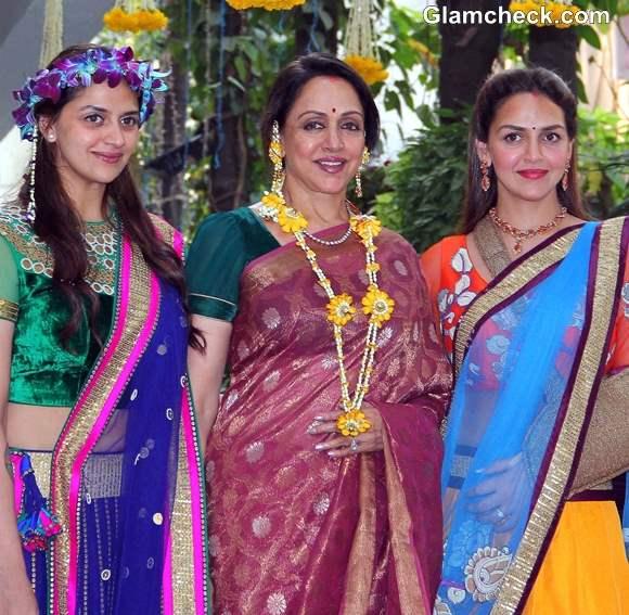Hema Ahana Esha Deol Shine at Ahanas Mehendi Ceremony
