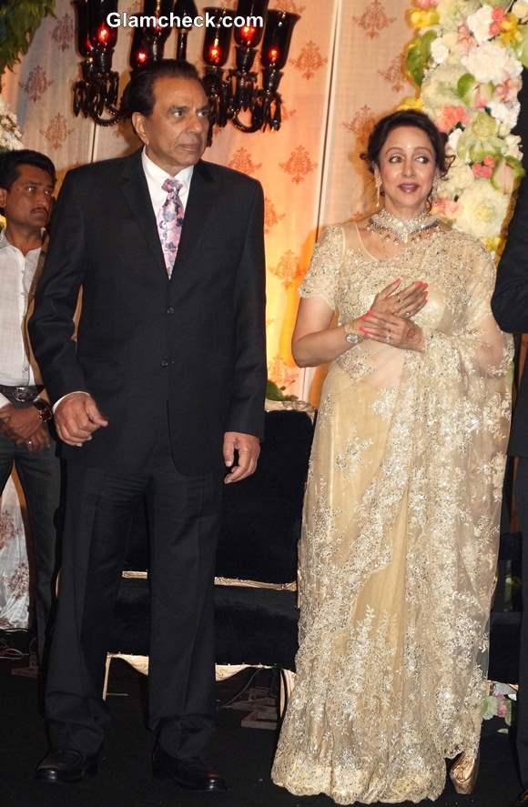 Hema Malini and Dharmendra at Ahana Deol-Vaibhav Arora Wedding Reception in Delhi