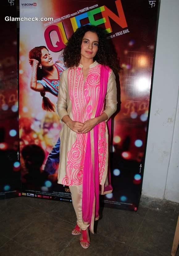 Kangana Ranaut 2014 in Salwaar Kameez at Queen Promotions