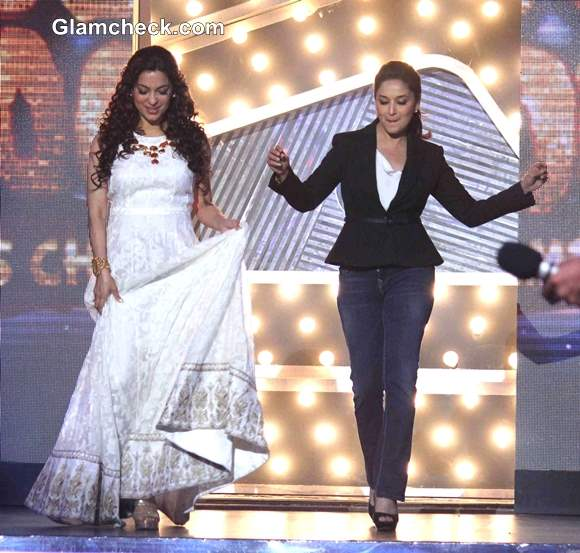 Madhuri and Juhi on the Sets of Boogie Woogie
