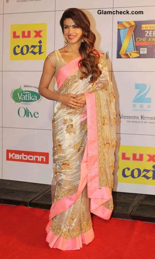 Priyanka Chopra Goes Desi in Gold Sari at Zee Cine Awards 2014