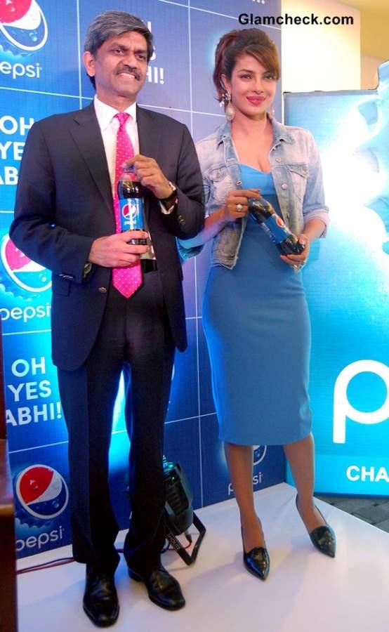 Priyanka Chopra Promotes Pepsi in Brands Trademark Blue Dress