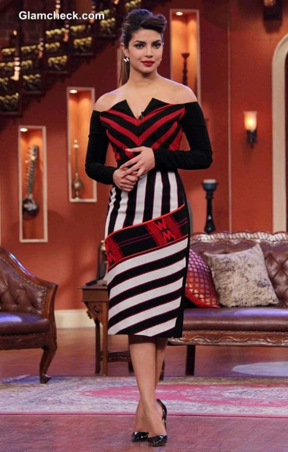 Priyanka Chopra in Atsu Sekhose Stripe-y number on Comedy Nights with Kapil