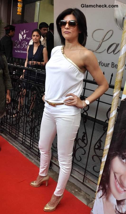 Sushmita Sen in Off-Shoulder White Top at La Piel Skin Clinic Launch