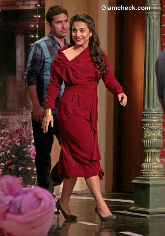 Vidya Balan in Anand Kabra Red Dress on Comedy Nights with Kapil