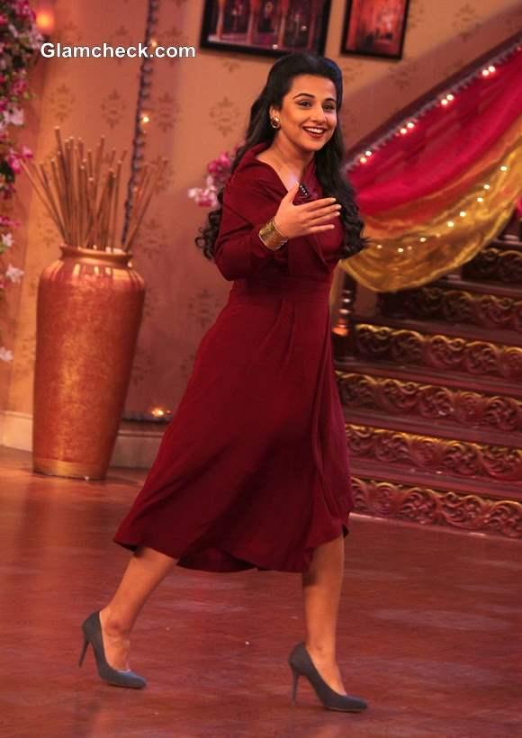 Vidya Balan in Red Dress on Comedy Nights with Kapil