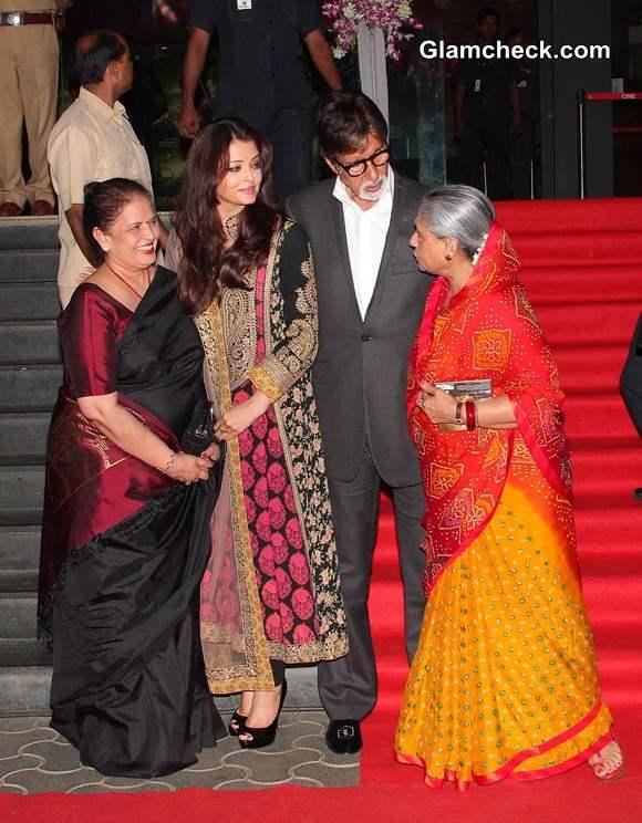 Aishwarya Rai with her mother and in-laws at Kochadaiiyaan Trailer Launch