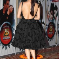 Dia Mirza 2014 Backless Black Dress at Vasu Bhagnanis 25th Movie Celebration